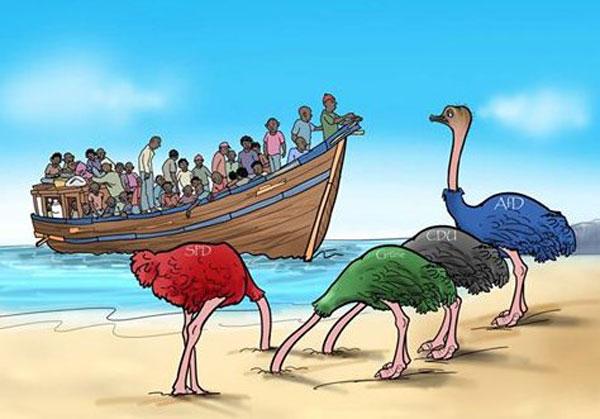 Ein Bild sagt mehr als tausend Worte. Vogelstrauss-Politik der Altparteien CDU, CSU, SPD, Grüne bei der Migranten-Invasion #Date:06.2016#