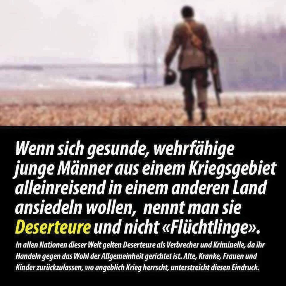 Wenn sich gesunde, wehrfähige junge Männer aus einem Kriegsgebiet alleinreisend in einem anderen Land ansiedeln wollen, nennt man sie Deserteure oder Invasoren und nicht Flüchtlinge #Date:06.2016#
