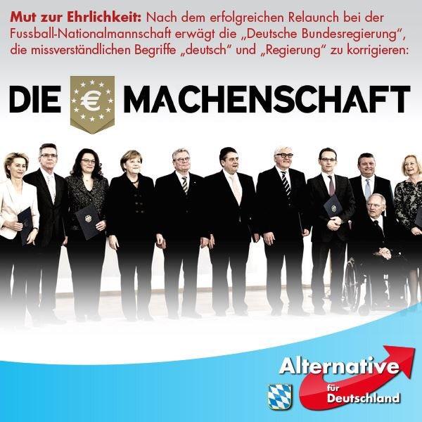 Analog zur Deutschen Fußball-Nationalmannschaft, die vom DFB in Die Mannschaft umbenannt wurde, hat sich die Regierung nur zur Vermeidung des Wortes deutsch in Die Machenschaft umbenannt #Date:06.2016#