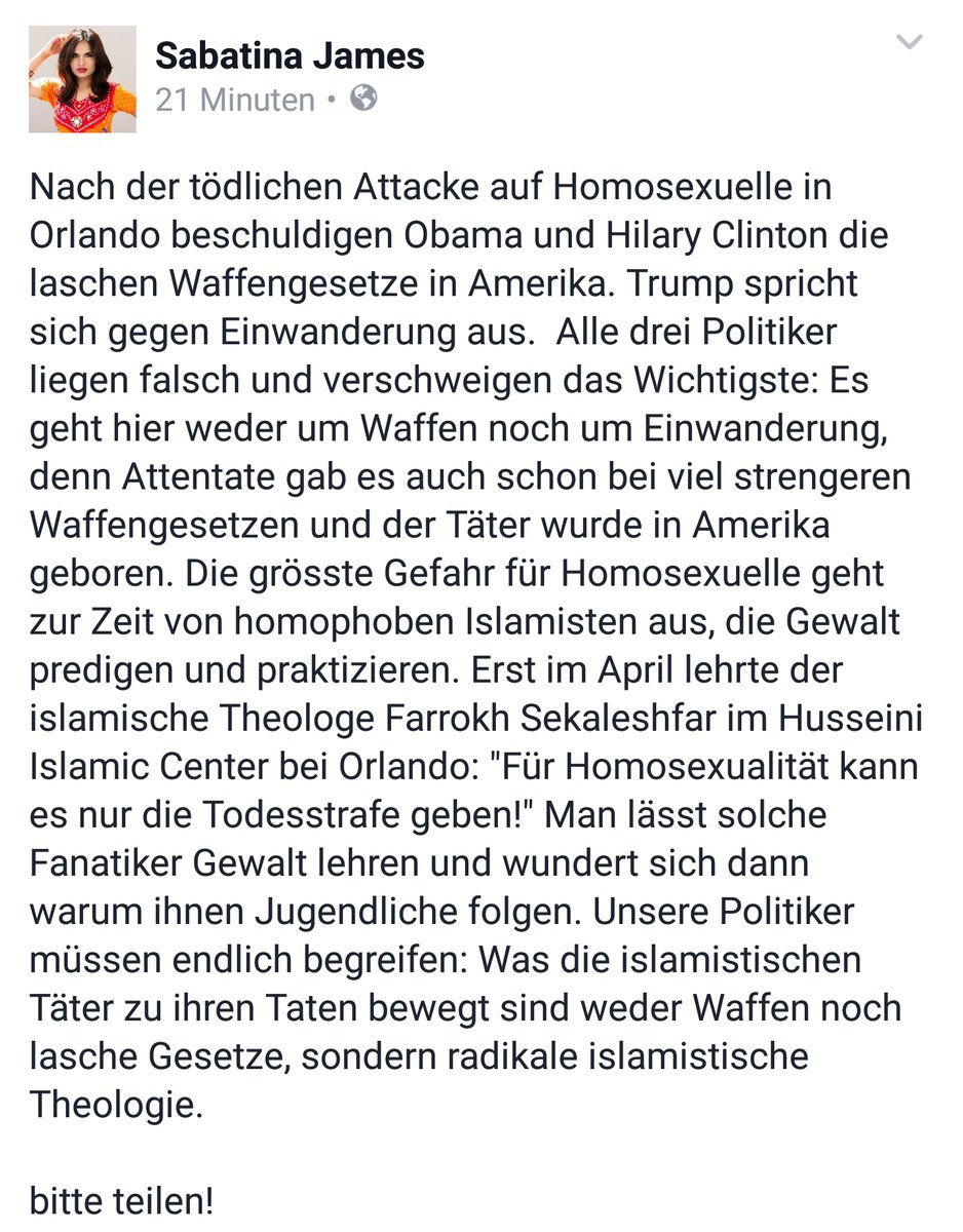 Das Orlando-Shooting mit 50 Toten in einer Schwulenbar ist das Ergebnis einer homophoben islamischen Theorie #Date:06.2016#