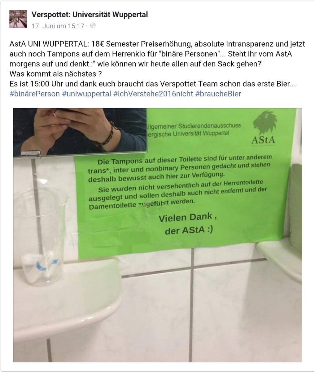 Tampons auf den Herrentoiletten der Uni Wuppertal für Trans-Personen, Inter-Personen und Non-Binary Personen. Sachen gibbet es. #Date:#