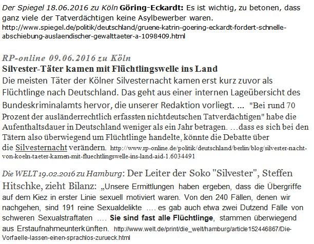 Die Grüne Göring-Eckardt beteiligt sich 6 Monate nach der Silvesternacht von Köln noch immer an einer Vertuschung der tatverdächtigen Ausländer. Merke: Grüne gehen über Bürger-Leichen. Rapefugees #Date:06.2016#