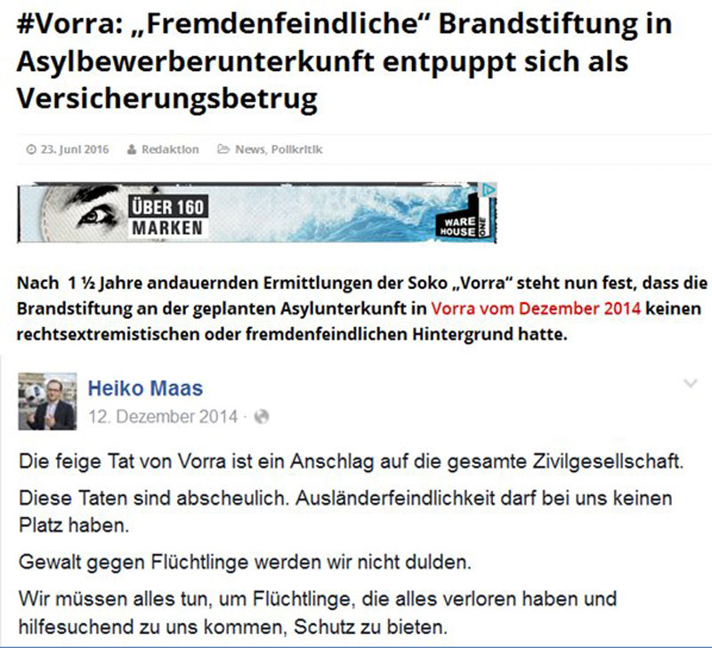 Großkotzig twitterte Bundesjustizminister Heiko Maas nach den Brandanschlägen von Vorrra in 2014, dass es sich um Ausländerfeindlichkeit handle. Brav ermittelte die Polizei 18 Monate in die falsche Richtung. Ergebnis heute: Brandstiftung aus wirtschaftlichen Gründen durch den Besitzer. #Date:06.2016#