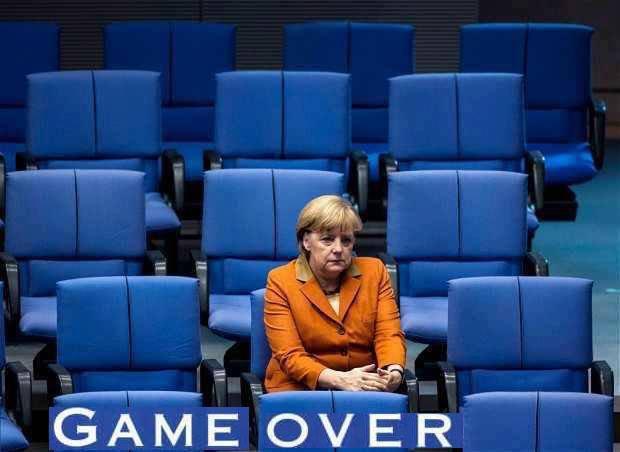 Game over and out. Merkel, die Unkanzlerin der BRD, sieht schweren Zeiten entgegen, nachdem die Briten sich für den Brexit entschieden haben. #Date:06.2016#
