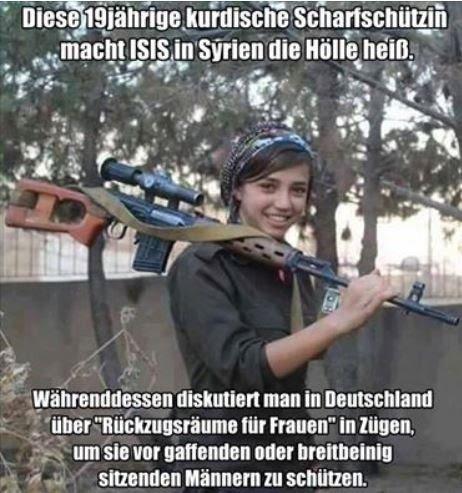 19-Jährige kurdische Scharfschützin heizt dem IS ein, während die syrischen Feiglinge in Germoney durchgefüttert und verwöhnt werden. #Date:#