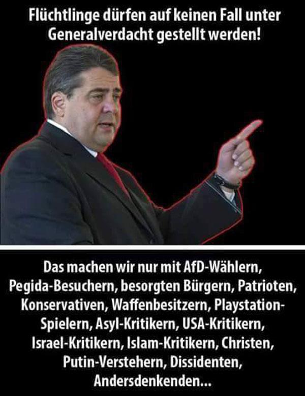 Der Vorsitzende der SPD Sigmar Gabriel  auch bekannt als Siechmar Gabriel oder PackSiggi oder NaziSiggi hält wieder seine schützende 5% Tatze über die Flutlings-Migranten, während er kräftig auf Deutsche einprügelt. #Date:06.2016#