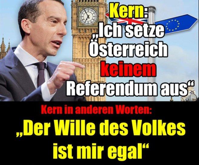 Kern zur EU Brexit: ich setze Österreich keinem Referendum aus. Die neue Merkel-Unterwürfigkeit in Österreich. Demokratieprobleme wie in Deutschland. #Date:06.2016#