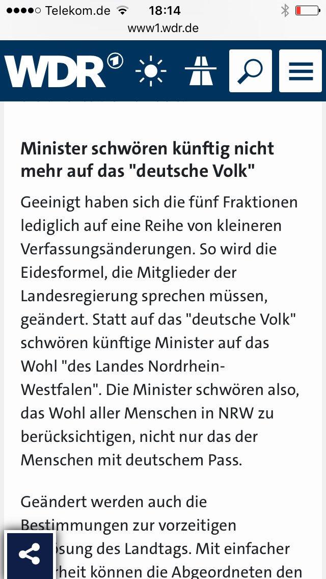 Die Minister in Nordrhein-Westfalen  schwören ihren Amtseid künftig nicht mehr auf das deutsche Volk, sondern auf die Menschen in NRW. Kraft, Jäger, Löhrmann, Reker sind Merkel-Deutschland. Rot-Grün verhindern, wo immer möglich. #Date:06.2016#