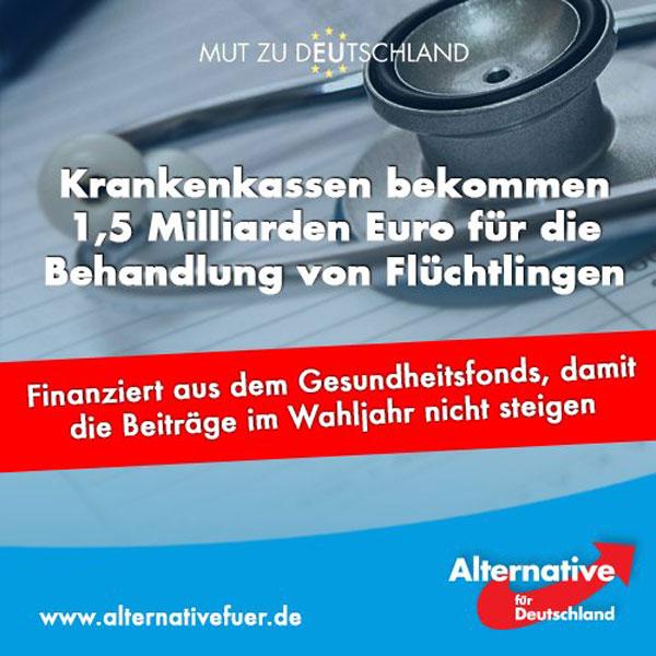 Krankenkassen bekommen 1,5 Milliarden Euro für die Behandlung von Flüchtlingen, damit die Kassenbeiträge im Wahljahr 2017 nicht steigen. #Date:06.2016#