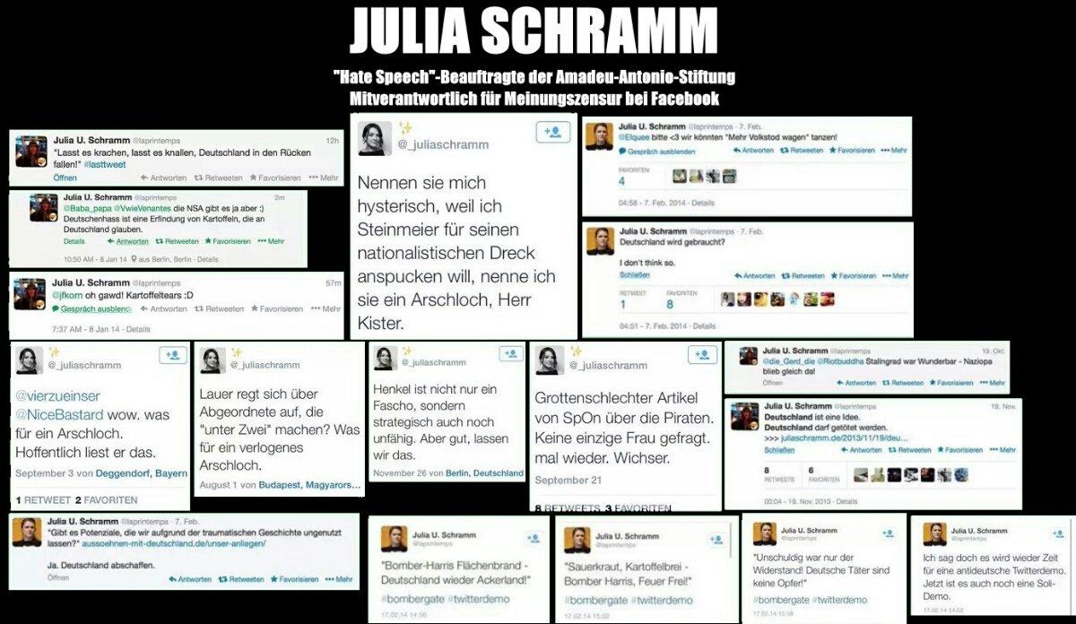 Mitarbeiterin der Antonio Amadeu Stiftung Julia Schramm verfasst im Auftrag von Bundesministerien Schriften gegen #hatespeech und schreibt selbst Hasskommentare. Ein Skandal ersten Ranges. #Date:06.2016#