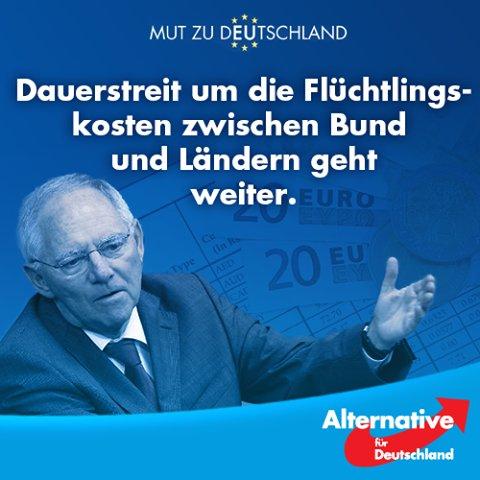 Dauerstreit um die Kosten der Asylkrise. Wer soll das bezahlen, wer hat so viel Geld. Bund und Länder im Streit um die Flüchtlingskosten. Danke #Merkel und ganz groß #Inzucht #Schäuble #Date:06.2016#