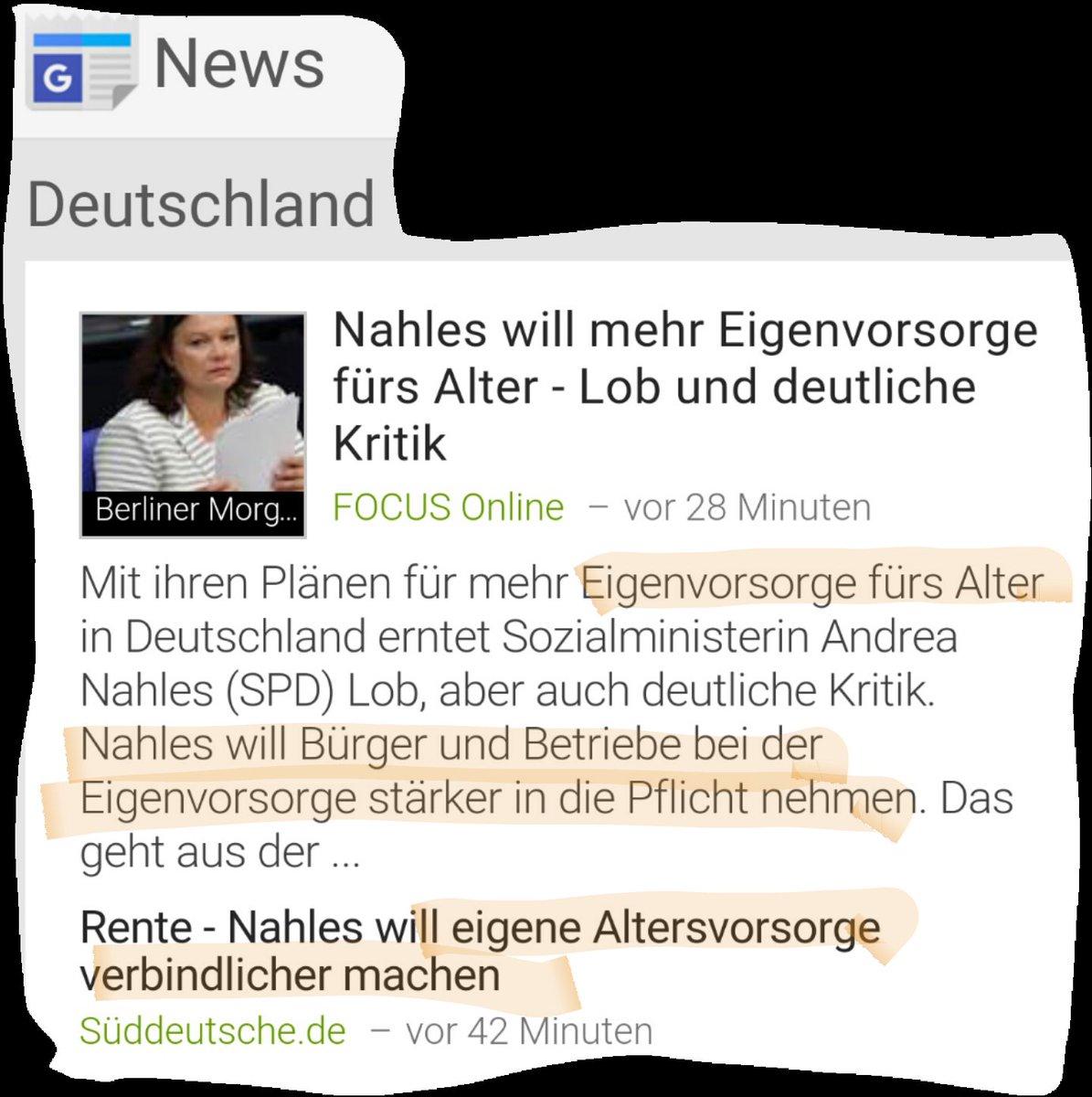 Sozialministerin Andrea Nahles SPD will die Bürger weiter ausquetschen. Elitäre antideutsche Vampirpolitik. Deutsche sollen mehr für Altersvorsorge tun. Wozu also unsere Retter, die Migranten? #Date:06.2016#