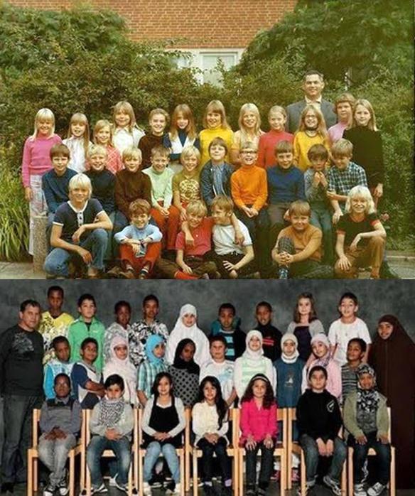 Bei dem Vergleich dieser beiden Aufnahmen von Schulklassen aus den 1970-Jahren und heute stellen wir zunächst fest, dass aus PoliticalCorrectness kein Unterschied festzustellen ist. Der Rest ist Merkel-Deutschland. #Date:06.2016#