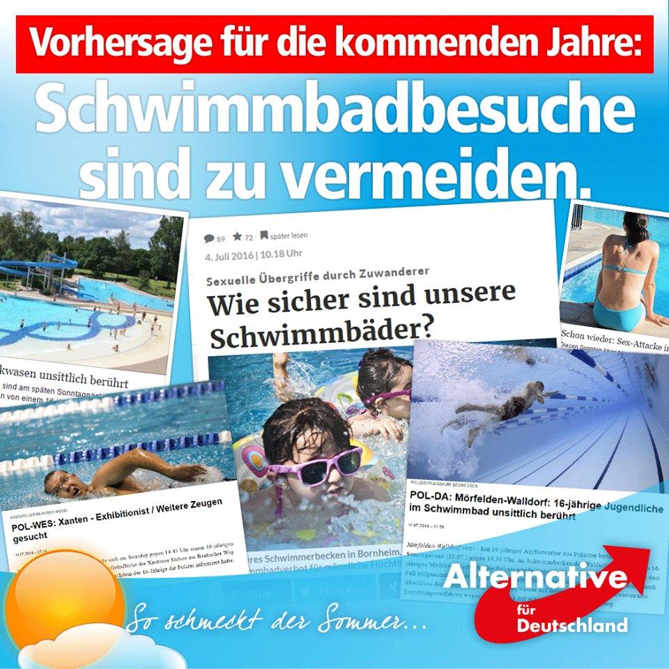Vorhersage der AfD Alternative für Deutschland für die nächsten Jahre: Schwimmbadbesuche sind zu vermeiden. Schöner Sommer. Gar nix hat sich geändert (Ironie aus) #merkelmussweg? #MerkelDeutschland? ? #AfD_wählen ? #KrimigrantenRaus? #MigrantenPropaganda_OFF?? #schwimmbad  #Date:07.2016#