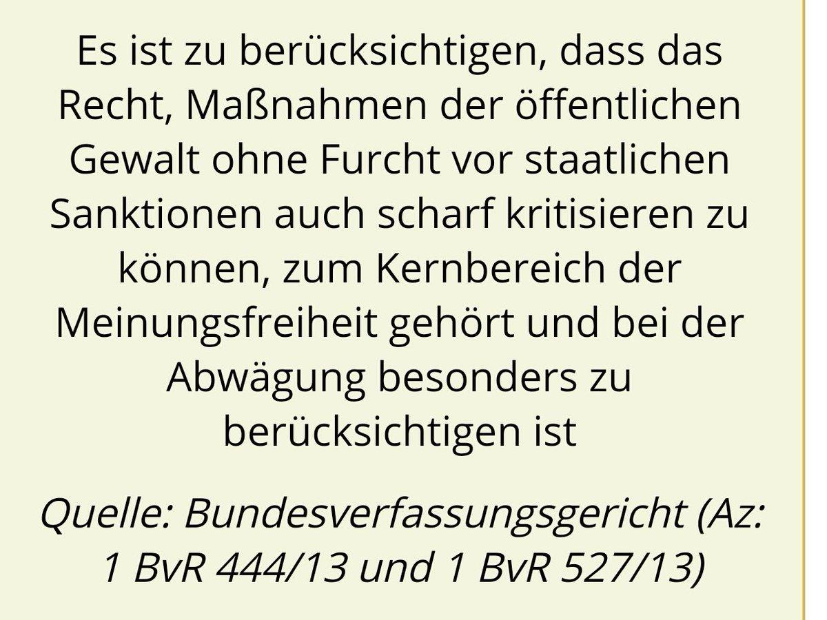 Klare Worte des Bundesverfassungsgerichts hinsichtlich der Verfolgung Andersdenkender in Deutschland. Hier machen inzwischen Bundeszensurminister Heiko Maas SPD und die politische Polizei bis hin zum Bundeskriminalamt BKA Jagd auf jegliche Meinungsäußerung jenseits des staatlichen verordneten Meinungskorridors. #Date:07.2016#