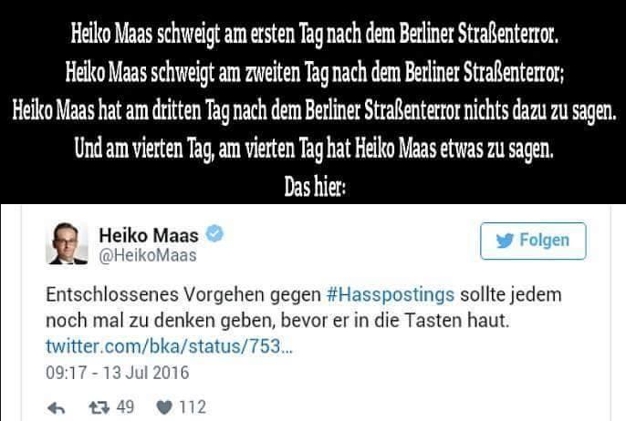 Bundesjustizminister Heiko Maas SPD und seine seltsame ideologisch links geprägte Aktivität gegen Hatespeech im Internet, während im wahren Leben hunderte von Polizisten von Linksextremen in Berlin ins Krankenhaus geprügelt werden. #Date:07.2016#
