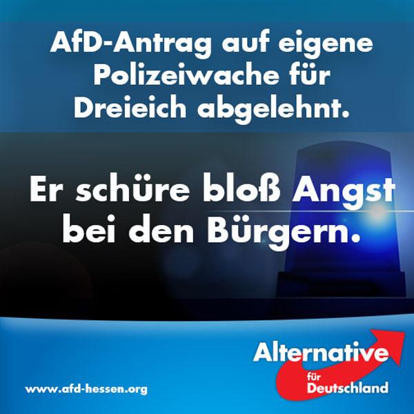 Eine Polizeiwache schürt Angst bei den Bürgern, meint der Stadtrat in Stuttgart. Die AfD Alternative für Deutschland hatte einen entsprechenden Antrag gestellt. #Date:07.2016#