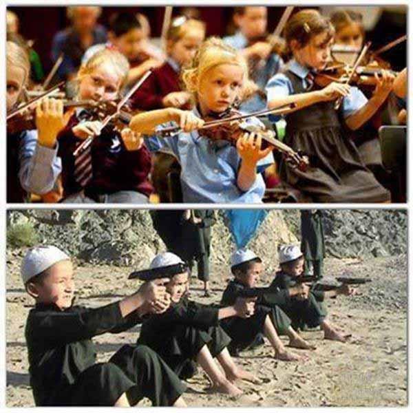 Nicht-Moslem-Kinder beim Geigenspiel. Moslembälger beim Schießtraining #Date:01.2016#