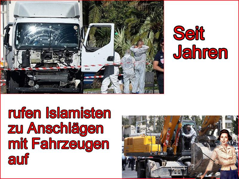 Bild zum Thema Terror in Nizza – Seit Jahren rufen Islamisten zu Anschlägen mit Fahrzeugen auf. Islam-Go-Home, Islam-No-Go