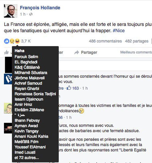 Bild zum Thema Moslems freuen sich auf der Facebook-Seite von Frankreichs Präsident Hollande über den Terroranschlag von Nizza. Total versifftes Frankreich.