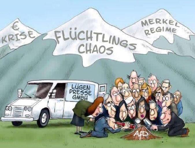Bild zum Thema Die deutschen Qualitätsmedien auf der Suche nach Liderlichem bei der AfD, während die Euro-Krise, Flüchtlingschaos und Merkel-Regime wenig Beachtung finden.