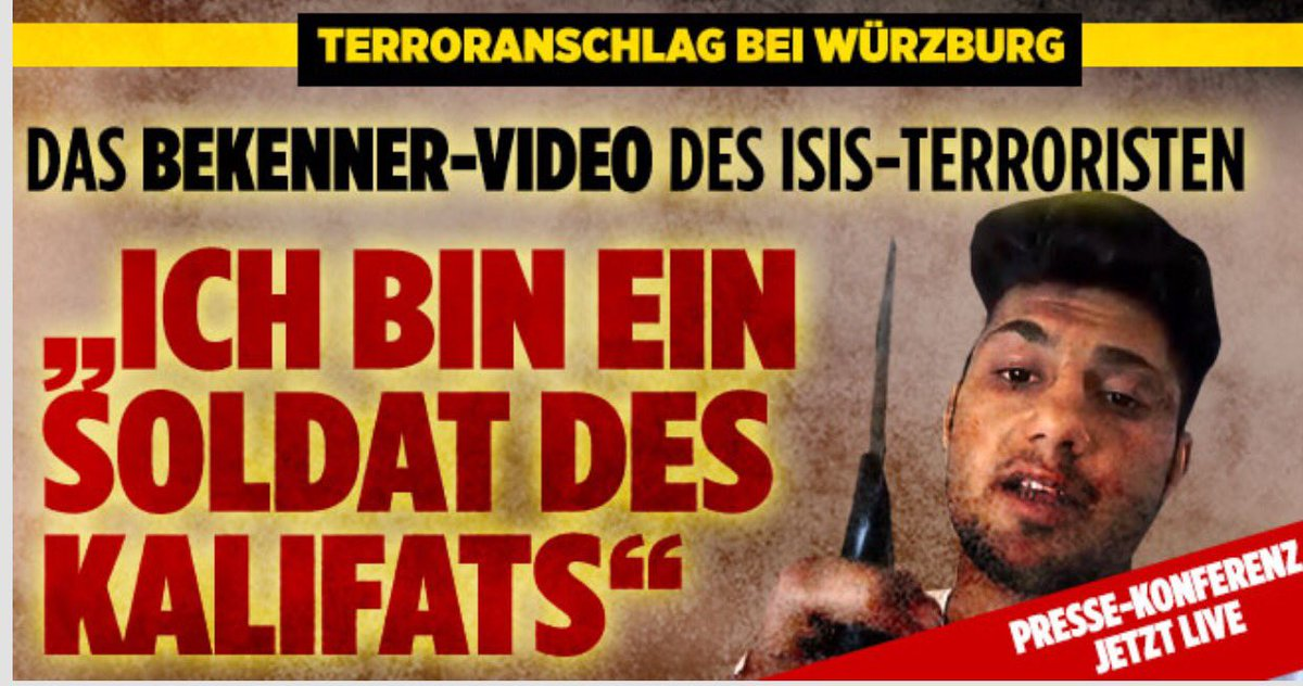 Bild zum Thema Das Bekennervideo des islamistischen Attentats von Würzburg. Ich bin ein Soldat des Kalifats. Selbstverständlich ist der Mordmoslem ein Opfer, kein Täter. Der IS hat den Kleinen verführt.