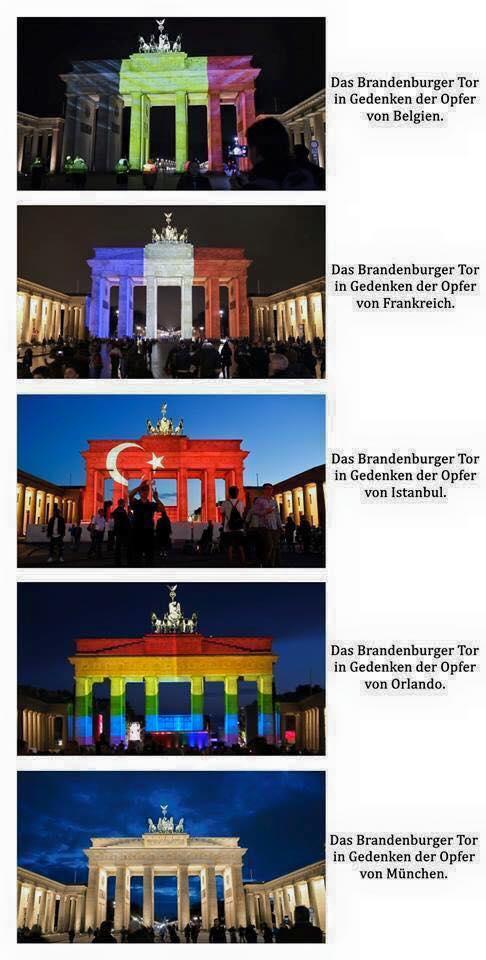 Bild zum Thema Deutschfeindliche Hauptstadt Berln. Das Brandenburger Tor wird illuminiert für die Opfer von Belgien, Frankreich, Istanbul. Für München, Reutlingen und Würzburg bleibt da keine Empathie