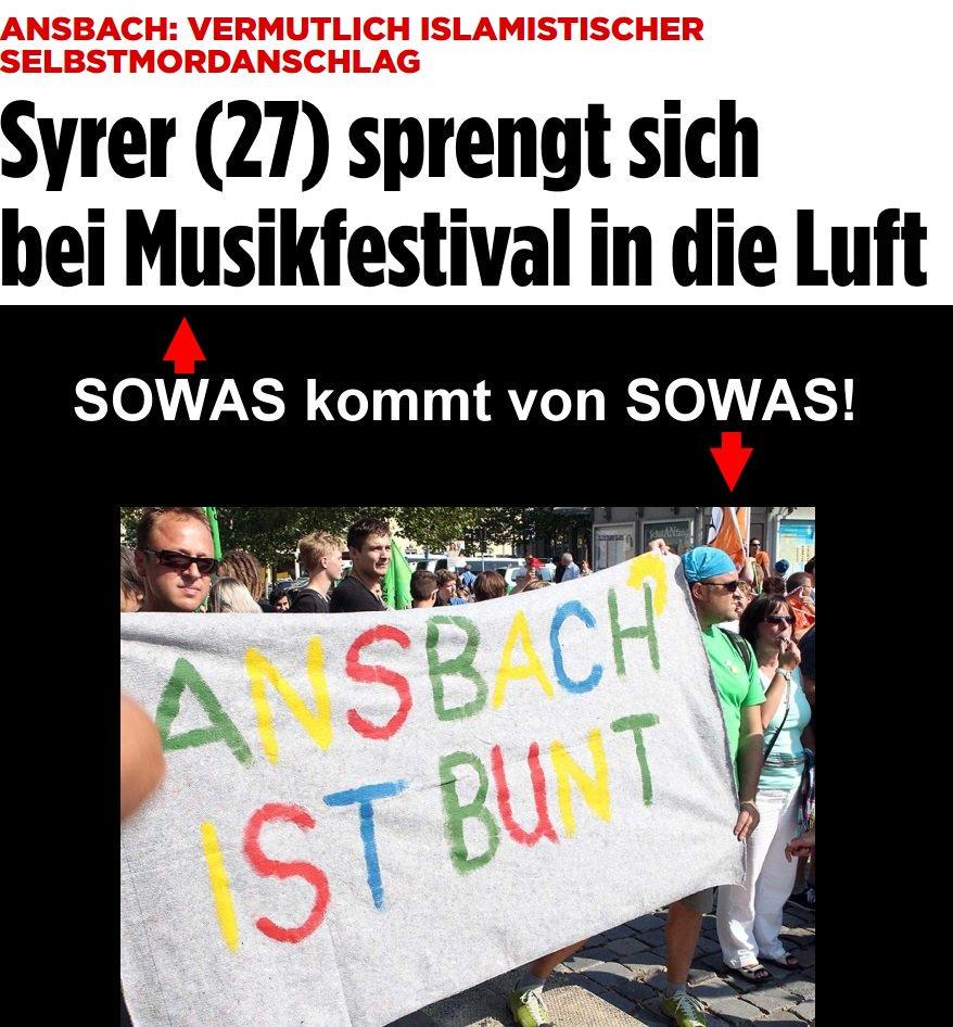Bild zum Thema Ansbach ist bunt. Vor allem blutrot nach dem Selbstmordanschlag des Syrers beim Musikfestival mit zahlreichen Verletzten und sehr viel Glück.