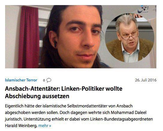 Der Bundestagsabgeordnete der LINKEN, Harald Weinberg, hatte sich erfolgreich dafür eingesetzt, dass der Selbstmordattentäter von Ansbach nicht abgeschoben wurde. Ein herzliches Vergelts Gott an den feinen Herrn. #Date:07.2016#