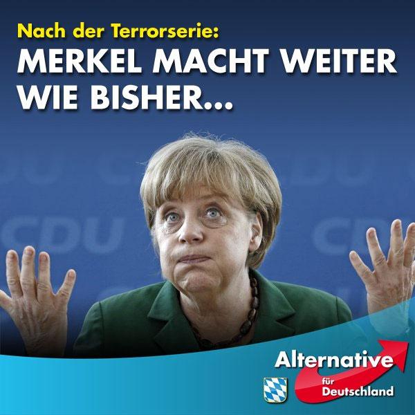 Nach ihrer Bundespressekonferenz verspricht Merkel mit ihrer alternativlos toxischen Politik weiter zu machen wie bisher. Sie ist völlig unbeeindruckt von den katastrophalen Ergebnissen ihrer Flüchtlingspolitik. #Date:07.2016#