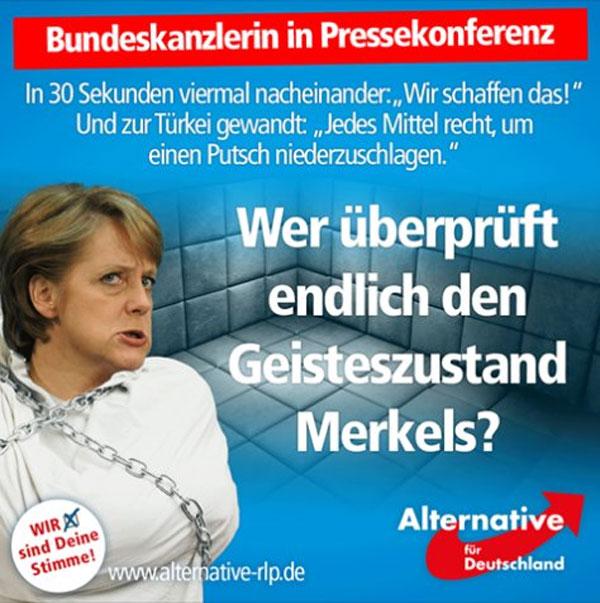 Wer überprüft endlich den Geisteszustand von Merkel und ihren Claqueuren. Eine entsprechende Regelung muss umgehend gesetzlich fixiert werden. #Date:07.2016#