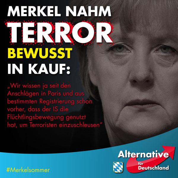 Merkel hat auf der Bundespressekonferenz im Juli 2016 zugegeben, dass ihr der Terrorimport im Zuge ihrer toxischen Flüchltinigspolitik klar war. Ein Offenbarungseid gegenüber dem Volk ohne Konsequenzen. Rücktritt – never. #Date:07.2016#