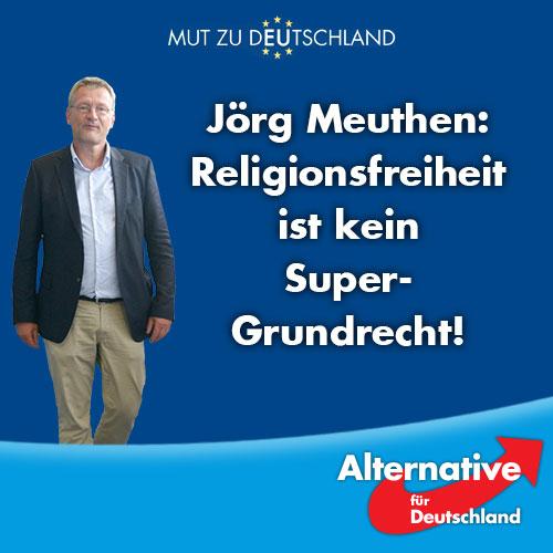 Das angebliche Super-Grundrecht der Religionsfreiheit muss in einem säkularen Staat wie Deutschland auf ein erträgliches Maß zurecht gestutzt werden. Sämtliche Sonderregelungen abschaffen. Professor Meuther, AfD, Alternative für Deutschland.  #Date:08.2016#