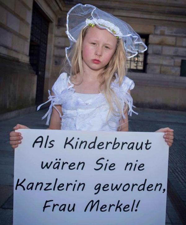 Bild zum Thema Als Kinderbraut wären sie nie Bundeskanzlerin geworden, Frau Merkel. Importierte Kinderbräute müssen in Deutschland lt. Gerichtsurteil geduldet werden. Die ausländische Ehe ist gültig. Schande.