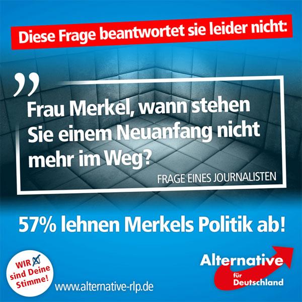 """57% der Deutschen lehnen """"Kanzlerin"""" Merkels Asylpolitik ab: Das ergab eine aktuelle Umfrage des Umfrageinstituts """"Emnid"""". Durchaus berechtigt also die Frage eines Journalisten: """"Wann stehen Sie einem Neuanfang nicht mehr im Weg?""""  http://www.focus.de/politik/videos/umfrage-zeigt-57-prozent-der-deutschen-halten-merkels-asylpolitik-fuer-gescheitert_id_5771744.html #Date:08.2016#"""