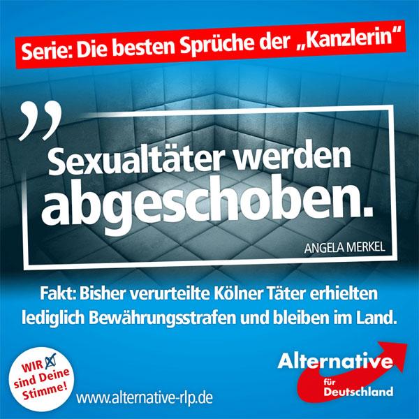 """""""Kanzlerin"""" Angela Merkel wurde bei ihrer Sommerpressekonferenz gefragt, wie denn mit den vielen nichtdeutschen Sexualtätern umgegangen werden müsse. Antwort: Hier seien bereits Gesetze so geändert worden, dass solche Täter abgeschoben werden könnten.  Die Fakten: Sexualtäter werden nicht abgeschoben, die meisten sehen eine Gefängniszelle nicht einmal anlässlich einer U-Haft von innen. Die bisher verhängten Urteile zur Kölner Silvesternacht sprechen eine klare Sprache, doch nicht nur in Köln zeigt sich der Staat gegenüber straffälligen Asylbewerbern von seiner weichen Seite. So vergewaltigten vier Syrer zwei Mädchen (14 & 15) in Weil am Rhein. Das Gericht verhängte lediglich Bewährungsstrafen, eine Abschiebung erfolgte selbstverständlich nicht.  Von einem Durchgreifen des Staates, oder gar von Abschiebungen, kann keine Rede sein! Genau das ist es aber, was unserer Ansicht nach umgehend erfolgen muss: Wer glaubt, in Deutschland Kinder & Frauen sexuell nötigen oder gar vergewaltigen zu können, der hat in unserem Land nichts, aber auch gar nichts verloren und muss dieses auf dem schnellsten Wege verlassen!  http://www.schwarzwaelder-bote.de/inhalt.weil-am-rhein-freiburg-vergewaltigung-vier-junge-syrer-verurteilt.d8f96f23-e47d-4740-9880-51fc7a8e0308.html #Date:08.2016#"""
