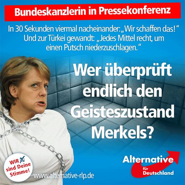 """Angela Merkel hat völlig den Bezug zur Realität verloren. Da """"psychische Labilität"""" ja gerade zum Sommertrend wird, schlagen wir eine schnellstmögliche Überprüfung des Geisteszustands der Kanzlerin vor!  Statt endlich wirksame Maßnahmen anzukündigen, lässt uns die Bundeskanzlerin gleich zu Anfang der gerade stattfindenden Pressekonferenz wissen: """"Wir schaffen das!"""" Und das gleich viermal nacheinander, nicht ohne zu betonen, was wir """"bereits geschafft"""" haben.  Die gesamte Pressekonferenz wird von dieser allgemeinen Floskel getragen, Fragen nach sexuellen Übergriffen werden ausweichend beantwortet, angeblich gäbe es hier bereits Mittel, um die Täter auszuweisen. Passiert nur nicht.  Auch zum Thema Terrorismus: Keine klare Kante, keine Einsicht.   Zum Thema Türkei: Keine Kritik, stattdessen stetige Wiederholung des Erfolgs des EU-Türkei-Deals.  Der #Merkelsommer geht weiter, auch weiterhin werden unsere Frauen und Töchter in den Schwimmbädern dieser Republik sexuell genötigt oder gleich vergewaltigt. Praktisch führungslos sieht Deutschland einer dunklen Zukunft entgegen. Kritische Selbstreflexion im Kanzleramt findet nicht statt.  Merkel macht sich mitschuldig ob ihrer Uneinsichtigkeit. Sie gehört nicht in ein Kanzleramt, sondern in eine psychiatrische Praxis, in der ihre Zurechnungsfähigkeit umgehend festgestellt werden sollte.  Bonbon am Ende: Auch Journalisten stellen nun endlich wichtige und kritische Fragen, beispielsweise die, wann Merkel den Weg freimacht zur Behebung des von ihr angerichteten Chaos. """"Was muss passieren, damit Sie einem Neustart nicht im Wege stehen?"""" #Date:07.2016#"""