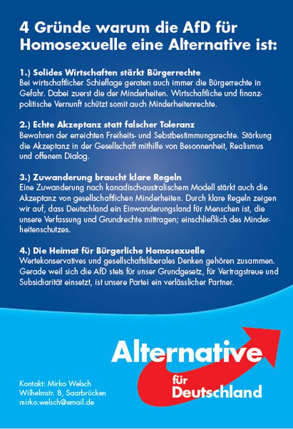 Warum die AfD für uns Homosexuelle wählbar ist? Ganz einfach! #Date:07.2016#