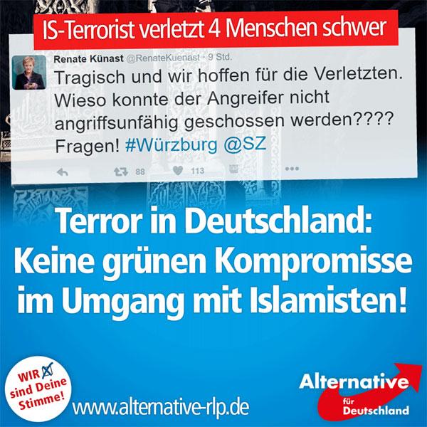 Der islamistische Terrorismus fasst Fuß in Deutschland: Bei einem Attentat in einem Zug in Bayern wurden 4 Menschen bei einem Axt-Angriff schwer und ein fünfter leicht verletzt. Der Terrorist wurde von der Polizei erschossen.   Und um wen sorgt sich Renate Künast? Um den Islamisten! Vermutlich sollte die Polizei, nach Meinung der Grünen, Attentäter zukünftig mit Teddybären bewerfen.  Wir sind der Meinung, die Polizei muss mit der vollen Härte reagieren, vor allem wenn die Gefahr besteht, dass weitere Personen oder die Beamten selbst verletzt oder getötet werden könnten. Keine Kompromisse im Umgang mit Islamisten!  https://twitter.com/RenateKuenast/status/755165764060078081  #Date:07.2016#