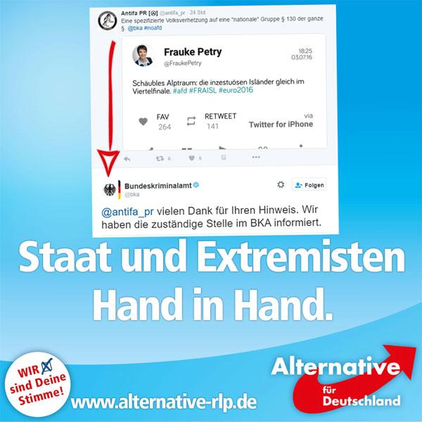 """Das BKA und die vom Verfassungsschutz beobachtete Antifa Hand in Hand: Auf Zuruf der Extremisten teilt das BKA in vorauseilendem Gehorsam mit, gegen Frauke Petry tätig zu werden. Petry hatte in einem Tweet Bezug auf Wolfgang Schäubles """"in Inzucht degenerierendes Europa"""" genommen und sarkastisch mitgeteilt, der Viertelfinal-Einzug der """"inzestuösen Isländer"""" müsse ein Alptraum für Schäuble sein.   https://twitter.com/bka/status/749926893110063104 #Date:07.2016#"""