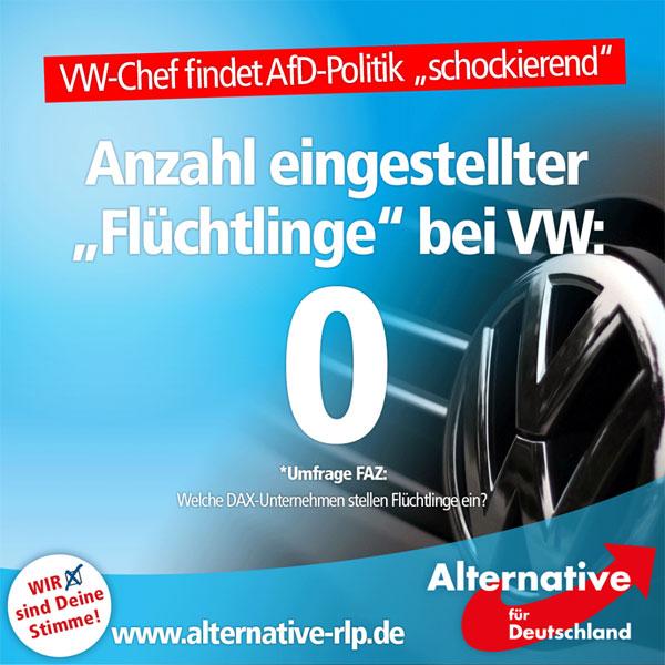 """VW-Chef Matthias Müller äußerte sich am Wochenende über die AfD. Unsere Politik finde er """"schockierend"""", er beobachte eine europaweite Zunahme von """"Rassismus"""". Das ist an Scheinheiligkeit kaum zu überbieten, denn der Konzern beschäftigt keinen einzigen Flüchtling, wie eine Umfrage der FAZ ergab. Insgesamt werden in allen DAX-Konzernen nur ganze 54 Asylbewerber beschäftigt.   50 davon arbeiten bei der """"Deutschen Post"""", 2 beim Pharmakonzern Merck und weitere 2 bei SAP. Viele DAX-Konzerne nutzen den Flüchtlings-Hype dennoch zu Marketing-Zwecken, so auch VW mit der Kampagne """"Gemeinsam Helfen"""".  Wenn es aber darum geht, Arbeitsstellen zu Verfügung zu stellen, ist es mit der Hilfe ganz schnell vorbei. Und das wiederum finden wir nicht nur """"schockierend"""", sondern mehr als scheinheilig.  Links: VW-Chef Müller über die AfD: http://www.welt.de/wirtschaft/article156761682/VW-Chef-empfindet-Politik-der-AfD-als-schockierend.html  FAZ-Umfrage: """"Welche DAX-Konzerne stellen Flüchtlinge ein?"""" http://www.faz.net/aktuell/wirtschaft/unternehmen/welcher-konzern-stellte-fluechtlinge-ein-14322168.html  #Date:07.2016#"""