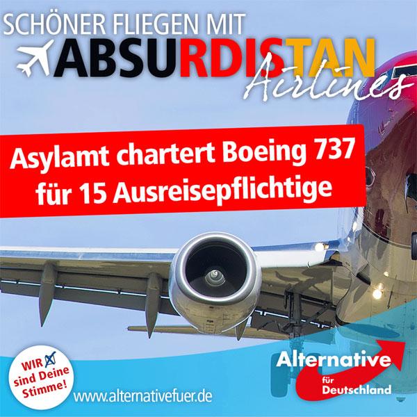Wie schiebt man 15 abgelehnte Asylbewerber ab? Auf dem gleichen Weg, auf dem sie gekommen sind, möchte man meinen. Nicht so in Deutschland: Hier mietet man eigens für diesen Zweck eine ganze Boeing 737, um die Ausreisepflichtigen nach Mazedonien, Serbien und Bosnien auszufliegen. Eine weitere Posse aus Absurdistan:  http://www.focus.de/politik/videos/fluechtlingskrise-behoerde-chartert-boeing-737-um-15-abgelehnte-asylbewerber-auszufliegen_id_5595244.html #Date:06.2016#