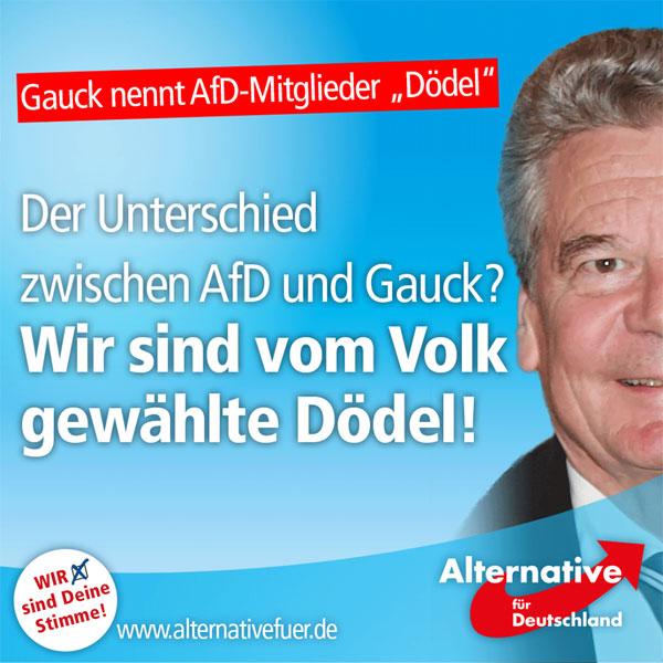 Bild zum Thema Ein Repräsentant ohne Volk beleidigt demokratische Parteien, die vom Volk gewählt wurden. Das allein ist schon ein Treppenwitz, oder?  http://www.rp-online.de/politik/deutschland/joachim-gauck-nennt-afd-mitglieder-doedel-aid-1.6005344