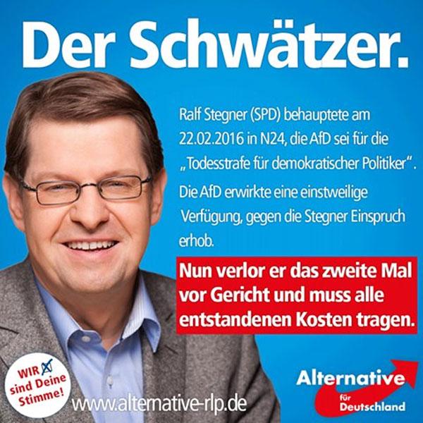 Ralf Stegner SPD ist ein Anti-Demokrat der schlimmsten Sorte. Und wieder verlor er vor Gericht. Er hatte behauptet, die AfD sei für die Todesstrafe für demokratische Politiker. Ein Volldepp. Projekt SPD-unter-5% #Date:08.2016#