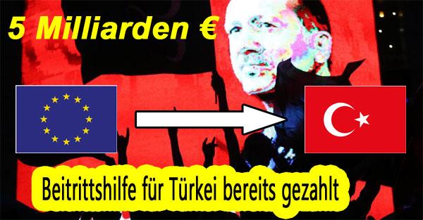 Bild zum Thema Dumm gelaufen. Obwohl die Beitrittsverhandlungen der EU mit der Türkei auf absehbare Zeit nicht realisierbar sind, wurden von der EU bereits 5 Milliarden EUR an Vorbeitrittsbeiträgen geleistet, um die Türkei fit für die EU zu machen. Raus aus der EU, zurück zum Europa der Vaterländer.