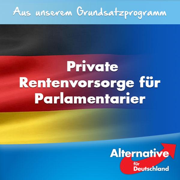 Wir sehen einen Reformbedarf bei der Altersversorgung der Bundestagsabgeordneten. Sie haben sich ein Pensionssystem geschaffen, das keine eigenen Beitragsleistungen vorsieht. Nach einem halben Arbeitsleben (27 Jahre) haben die Parlamentarier bereits den Maximalanspruch von derzeit 6.130 EURO erreicht, im Vergleich hierzu erhält ein Arbeitnehmer mittleren Einkommens nach 43 Berufsjahren und jahrelanger Rentenbeitragszahlungen eine Bruttomonatsrente von unter 1.200 EURO.   Die #AfD möchte das kostspielige und den Steuerzahler übermäßig belastende Versorgungsmodell der Abgeordneten grundlegend reformieren und z. B. die Parlamentarier auf eine private Rentenvorsorge verweisen. #Date:08.2016#