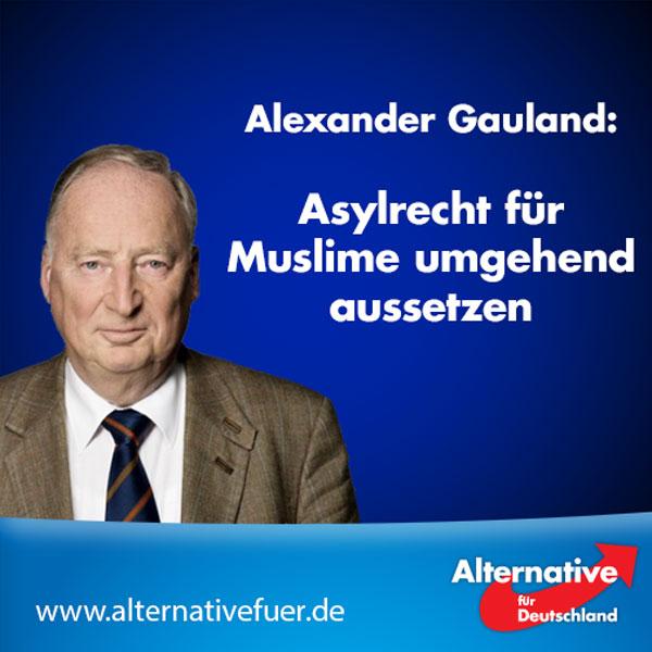"""Zur aktuellen Terrorkrise erklärt der stellvertretende Vorsitzende der AfD, Alexander Gauland:  """"Vor dem Hintergrund der vielen schrecklichen Terroranschläge muss jetzt das Asylrecht für Muslime umgehend ausgesetzt werden bis alle Asylbewerber, die sich in Deutschland aufhalten registriert, kontrolliert und deren Anträge bearbeitet sind.  Nicht alle Muslime sind Terroristen, aber religiös motivierter Terror in Deutschland ist bisher immer muslimisch gewesen. Wir können es uns aus Sicherheitsgründen nicht mehr leisten, noch mehr Muslime unkontrolliert nach Deutschland einwandern zu lassen. Unter den illegal eingewanderten Muslimen sind Terroristen und deren Zahl steigt ständig.  Frau Merkel ignoriert die Terrorgefahr und isoliert sich damit immer weiter. Mittlerweile hat sich eine Phalanx vieler europäischer Staaten und Politiker gegen Deutschland gebildet. Deutschland ist durch die fahrlässige Politik von Frau Merkel zum Sicherheitsrisiko für ganz Europa geworden. Wenn Frau Merkel nicht endlich die Grenzen schließt, dafür sorgt, dass alle muslimischen Einwanderer in Deutschland registriert werden, und die Polizeipräsenz auf unseren Straßen massiv erhöht, ist sie mitverantwortlich für die zukünftigen Terroranschläge, die dann mit trauriger Gewissheit folgen werden."""" #Date:07.2016#"""