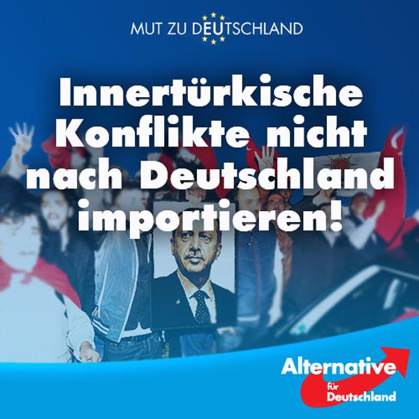 """An diesem Sonntag wollen in Köln rund 15.000 Erdogan-Anhänger für den türkischen Staatschef auf die Straße gehen. Die Union Europäisch-Türkischer Demokraten hat die Demonstration angemeldet, sie unterstützt Erdogans AKP.   Kurz nach dem Putschversuch in der Türkei kam es bei spontanen Demos in Deutschland bereits zu Ausschreitungen. Auch jetzt ist die Stimmung angespannt. Der Kölner Polizeipräsident Jürgen Mathies macht sich Sorgen, er erwartet, """"dass extrem unterschiedliche politische Gesinnungen aufeinandertreffen und dass Teilnehmer der Versammlungen zum Teil stark emotionalisiert sind.""""  Wir wenden uns entschieden dagegen, dass innertürkische Konflikte nach Deutschland importiert werden. Ausschreitungen zwischen Erdogan Befürwortern und Gegnern können und dürfen wir nicht auf unseren Straßen dulden. Wer für Erdogan demonstrieren will, kann das gerne tun: In der Türkei! Hier müssen von Anfang an klare Grenzen gezogen werden.  Zeit für Veränderung! Zeit für die #AfD!  http://www.rp-online.de/nrw/staedte/koeln/recep-tayyip-erdogan-demo-mit-15000-tuerken-in-koeln-am-sonntag-aid-1.6143325 #Date:07.2016#"""