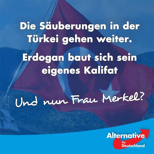 Das Bildungsministerium in der Türkei entlässt 15.000 Beamte.  24 Radio- und Fernsehsendern wurde die Sendelizenz entzogen. Es gibt ein Ausreiseverbot für Akademiker.  Wann wird die Bundesregierung ihre Politik gegenüber der Türkei ändern? Wann werden die EU-Beitrittsverhandlungen endlich gestoppt?   Erdogan möchte sein eigenes Kalifat aufbauen, er ist kein vertretbarer Partner für Deutschland oder die EU.  Die #AfD fordert die Regierenden auf, nicht nur durch Worte, sondern auch durch Taten zu demonstrieren, dass wir für unsere Werte, für Menschenrechte, Bürgerrechte und Demokratie einstehen!  Wir fordern die Regierung auch dazu auf, dafür zu sorgen, dass in Deutschland keine innertürkischen Konflikte auf offener Straße ausgetragen werden! Solche Bilder wie in Gelsenkirchen, wo Erdogan-Anhänger einen Jugendtreff attackierten, dürfen sich nicht mehr wiederholen. Hier gilt: Klare Kante!  http://www.faz.net/aktuell/politik/ausland/europa/tuerkei/tuerkei-verhaengt-ausreiseverbot-fuer-akademiker-14349110.html #Date:07.2016#