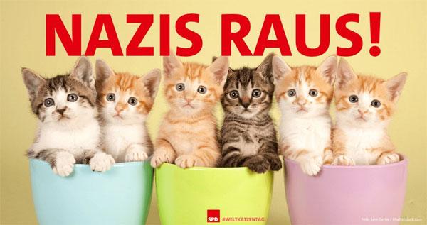 Plakat des SPD-Bundesvorstands zum Weltkatzentag. Geht es noch blöder und infantiler? SPD – Surreale Partei Deutschlands #Date:08.2016#